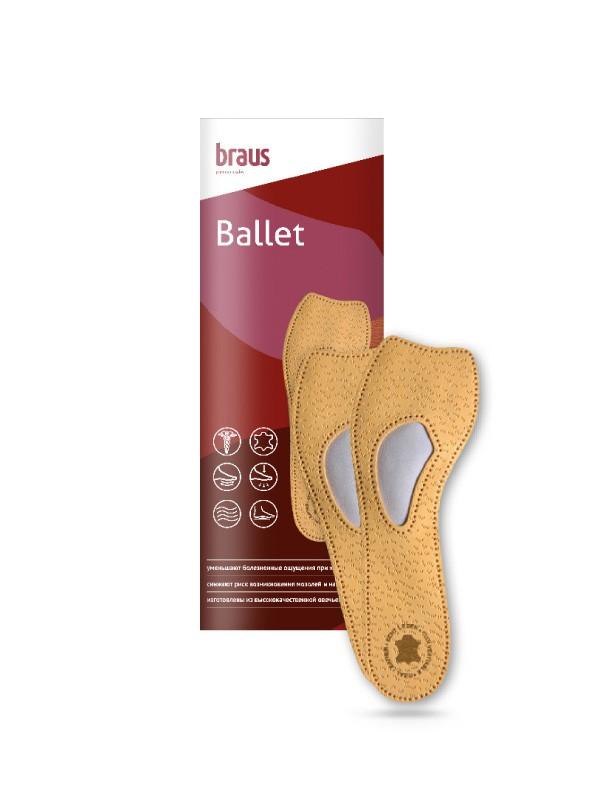 BRAUS Стельки ортопедические 3/4 Ballet (овечья кожа Pekari+вставка из латекса ) р,39-40