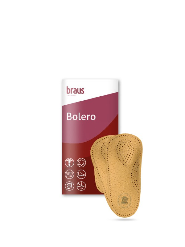 BRAUS Стельки ортопедические 2/3 Bolero (овечья кожа с жeстким супинатором ) р,45-46