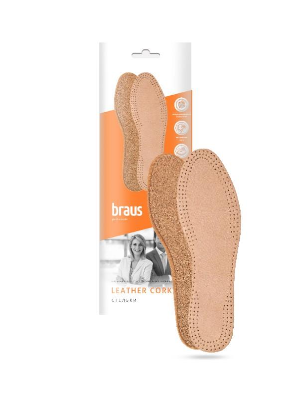 BRAUS Стельки Leather CORK (кожа+натуральная пробка)БЕЖЕВЫЕ р,35-36
